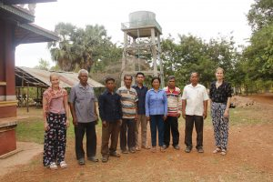 Ms. Stenholm and Ms. Tanskanen in the Sre Chea Commune, where the Solar Powered Drinking Water project was conducted.