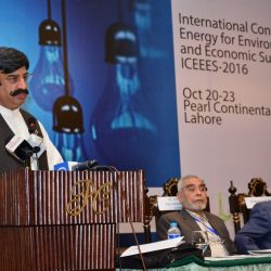 Sher Ali Khan, Minister of Mines and Minerals of the Provincial Assembly of the Punjab speaks at ICEEES 2016 (Photo courtesy UMT)