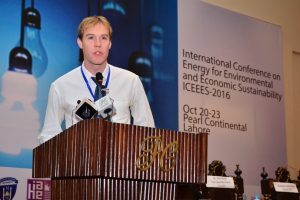Tadhg O Mahony of the FFRC addresses ICEEES 2016 (Photo courtesy UMT)